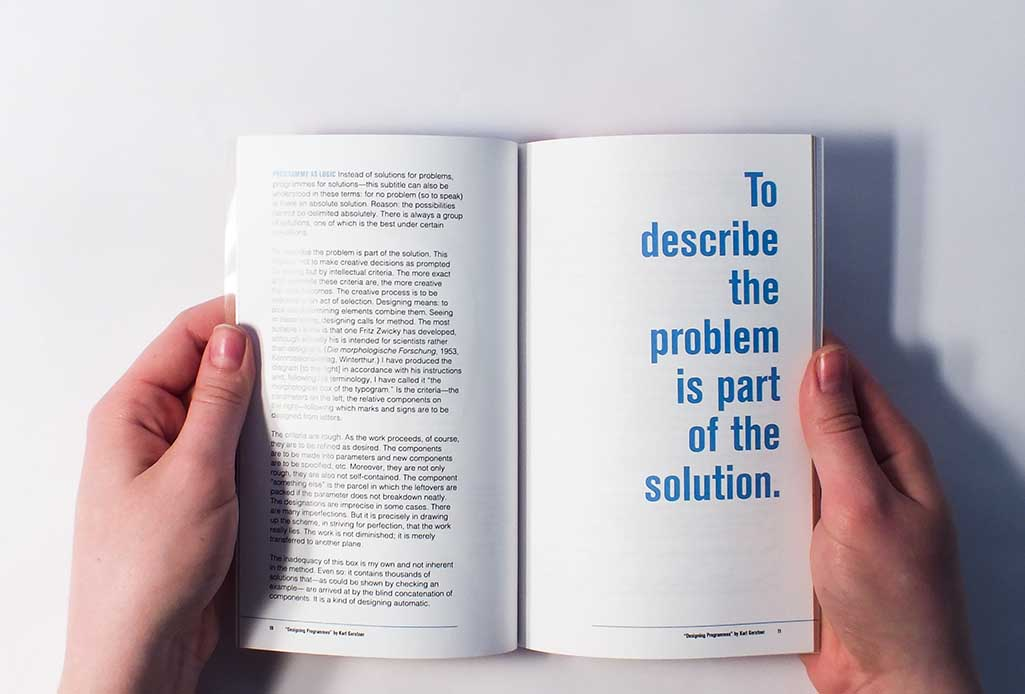 Image of one of the content spreads with a quote